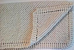 """Hand Knitted Off White  Baby Blanket, Christening 22"""" X 22"""""""