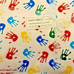 "HAND PRINT FLANNEL BABY RECEIVING SWADDLING BLANKET  38"" x 3"