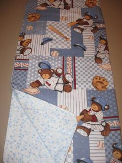 Handcrafted Baby Receiving Blanket - Billy Bear at Bat