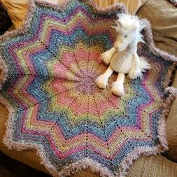 Handcrafted Crochet Baby Toddler Star Blanket Afghan Rainbow