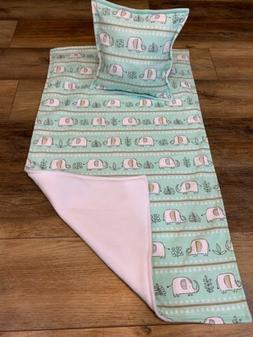 Handmade 100% Cotton Flannel Fleece Baby Blanket Pillow Elep