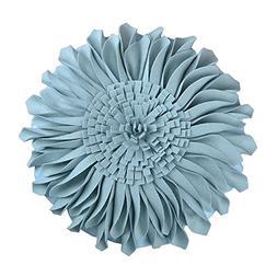 JWH Handmade 3D Flowers Accent Pillow Round Sunflower Cushio