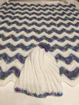 Handmade Crochet Baby Blanket/Hat Set- Shower Gift! Unisex W