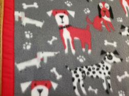 "Handmade""DOGS""unisex 30x42in gray fleece baby/toddler/lap/pu"