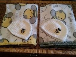 """Handmade Fleece """"Bumble Bee"""" Baby Blanket w/hat  - Choice ye"""