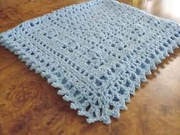 Handmade  NEW crochet baby  blanket Blue Afghan  Sweet Dream
