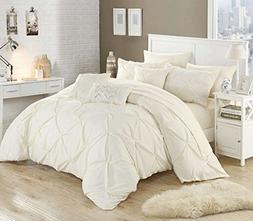 Chic Home 10 Piece Hannah Pinch Pleated ruffled complete Que