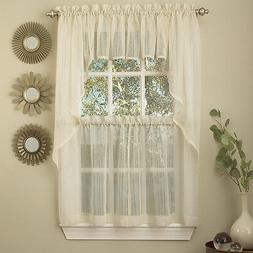 Harmony Ivory Micro Stripe Semi Sheer Kitchen Curtains Tier