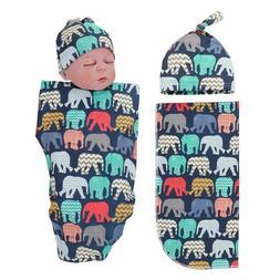 Hat Elephant Printed Baby Swaddle Blanket Sets Sleeping Swad