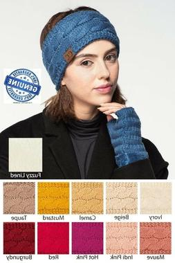 CC Headband Head wrap Cable Knit Fuzzy Sherpa Lined Ear Warm