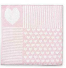 Elegant Baby Heart Knit Blanket in Pink