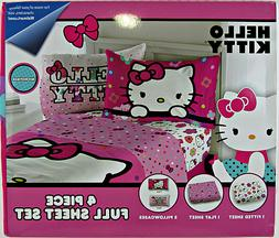 Hello Kitty 4 Piece Full Sheet Set - Microfiber - Girls - MB