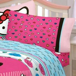 Sanrio HELLO KITTY BED SHEET SET - Hot Pink Colorful Hearts