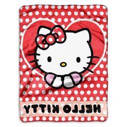 "Hello Kitty Polka Dot Fleece Blanket 46/"" x 60/"" NEW"