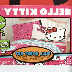 HELLO KITTY girls *4pc FULL BED SHEET SET Double PINK BLUE H