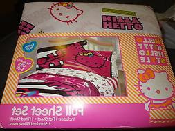 Hello Kitty Hello Style Full Sheet Set Neon Kitty 4 Piece Gi