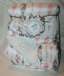 HIPPIE BABY Hermes Pink Feather Velvet Sherpa  Baby Blanket