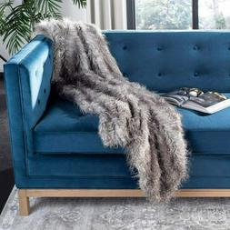 Safavieh Home Collection Faux Luxe grey Peacock Throw blanke