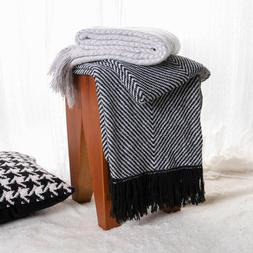 BATTILO HOME Woven Throw Blanket Chevron Blanket with Fringe
