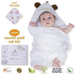 Premium Hooded Baby Towel and Baby Bib, 100% ORGANIC Bamboo,