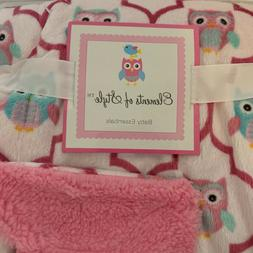 Hooty Owl Baby Blanket Pink w teal owls Super Soft Plush She