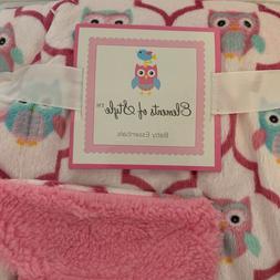 Hooty Owl Baby Blanket Pink w teal owls Super Soft Plush She