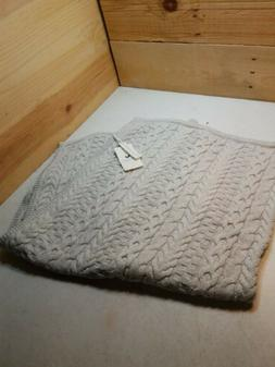 Hope & Henry Grey Cable Organic Cotton Knit Baby Blanket