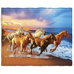 Horses on the Beach Fleece Throw Blanket