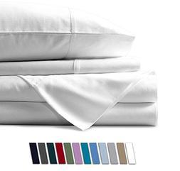 Mayfair Linen 100% Egyptian Cotton Sheets, White Queen Sheet