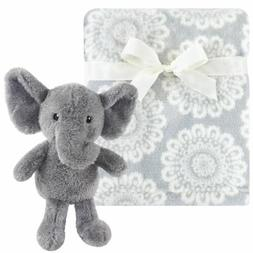 Hudson Baby Boy and Girl Plush Blanket with Plush Toy Set, S