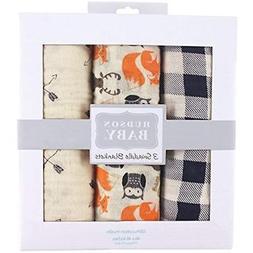 Hudson Baby Muslin 3 Piece Swaddle Blankets, Woodland Creatu