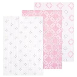 Hudson Baby- 3 Swaddle Blankets 100% Cotton Muslin, Pink/gre
