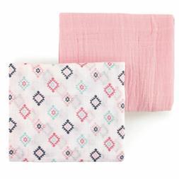 Hudson Baby Pink Aztec Muslin Swaddle Blankets Nursery Swadd