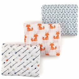 Hudson Baby Unisex Baby Muslin Swaddle Blankets, Foxes 3 Pac