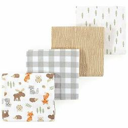 Hudson Baby Unisex Flannel Receiving Blankets, 4-Pack