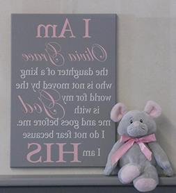I Am His Christian Wall Art, Daughter of a King Baby Nursery