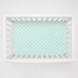 Carousel Designs Icy Mint and White Dot Mini Crib Sheet 5-In