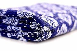 Indian Blanket Indigo Blue Ikat Cotton Kantha Quilt Reversib