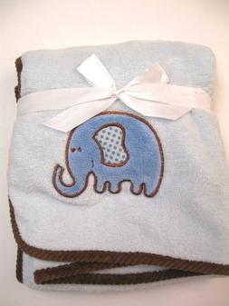INFANT Baby BOY BLUE ELEPHANT  HUDSON BABY BLANKET