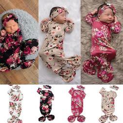 Infant Baby Girl Flower Swaddle Wrap Blanket Long Sleeve Sle