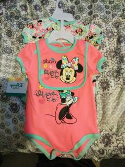 Infant Girls Disney Baby 3pc Outfit Shirt Pink Minnie Mouse