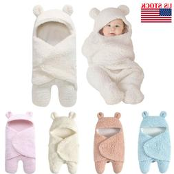 Infant Newborn Baby Boy Girl Soft Fleece Warm Swaddle Wrap B