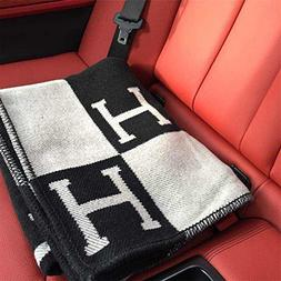 Initial Letter H Cashmere Knitted Throw Blanket for Couch/Ch