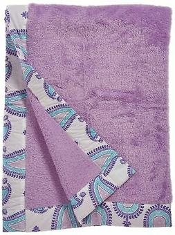 Bacati Isabella Girls Paisley Embroidered Plush Blanket, Lil
