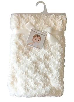 """Blankets and Beyond Ivory Rosette Blanket 30"""" x 30"""""""