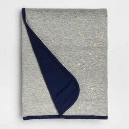 Cloud Island Jersey Knit Baby Blanket Solid Gray Navy 30inch