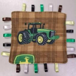 John Deere tractor fleece taggie baby Blanket  **Handmade**
