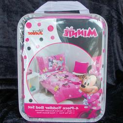 Disney Jr. Minnie Mouse Pink 4 Piece Toddler Bedding Set Plu
