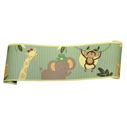 NoJo Jungle Babies Wallpaper Border , New, Free Shipping