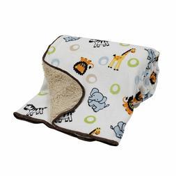 Bedtime Originals Jungle Buddies Velour Sherpa Blanket REVER